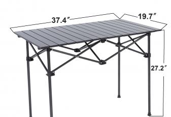 RORAIMA Easy Setup Portable Compact Aluminum Camping Folding Table With 120Lbs Capacity